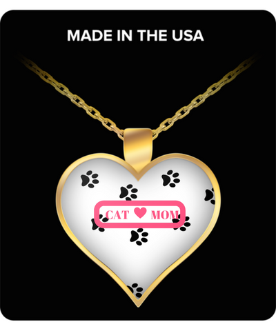 *Attention Cat Moms* Turn Your Jewelry into a Piece of Purrrfect Cat Art! Hint: Pawfect Present for Cat Lovers - Cat Mom Heart Necklace White, Necklace, Gearbubble, FamilyTrophy.com - FamilyTrophy.com