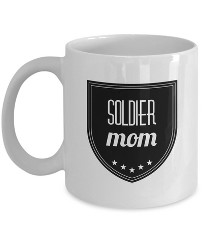 "Homecoming Gift - Proud Mom Of A Soldier - Proud Dad Of An Army Soldier - Soldier Mom Gifts - Soldier Gifts For Women - Soldier Mugs For Mom - Mother's Day Gifts From Son - White 11"" Ceramic Soldier Birthday Party Decorations Jar For Cookies & Candy"