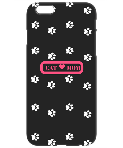 Cat Mom White Paws Pink Black Apple 4 cover, Phone Case, Gearbubble, FamilyTrophy.com - FamilyTrophy.com