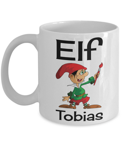 Holiday Christmas Elf Morning Mug - X-Mas Cup for Boys & Girls - Personalized First Name Kid Cocoa, Milk, Cookies, Candy Cane Cup - Personalization Gift & Stocking Stuffer For Kids, Coffee Mug, Gearbubble, FamilyTrophy.com - FamilyTrophy.com