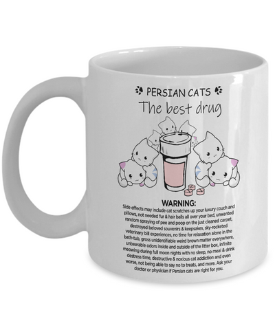 Premium Designed Cat Mug - Persian Cats Therapy - Unique House Warming Gift forKitty Loving Homemakers & Coffee Drinkers + Surprise Bonus - FamilyTrophy.com