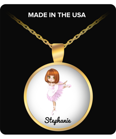Ballerina Necklace for Girls: Personalized Girl Jewelry - Cute Gift For Kids - Inspirational Gold Plated Round Necklace for Dancing Fans - Christmas Dance Jewelry & Holiday Gift - Beautiful Name Personalised & Customizaed Golden Necklace, Necklace, Gearbubble, FamilyTrophy.com - FamilyTrophy.com