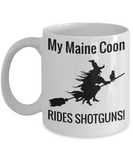 Shotgun Broom Witch Halloween Coffee Mug For Females Maine Coon Cat Holiday Gift Cocoa Mugs Tea Cup Holliday Gifts For Her & Him Cookie & Chocolatte Jar & Colorig Pens Holder, Coffee Mug, Gearbubble, FamilyTrophy.com - FamilyTrophy.com