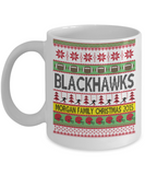 Inspirational Ugly Xmas Blackhawks Football Family Mug - Holiday 2016 Grandma, Grandpa, Mom, Dad Gift - White Personalized Last Name Family 2016 Christmas Ceramic Cup for Hot Cocoa, Coffee, Tea & Candy Cane Holder, Coffee Mug, Gearbubble, FamilyTrophy.com - FamilyTrophy.com