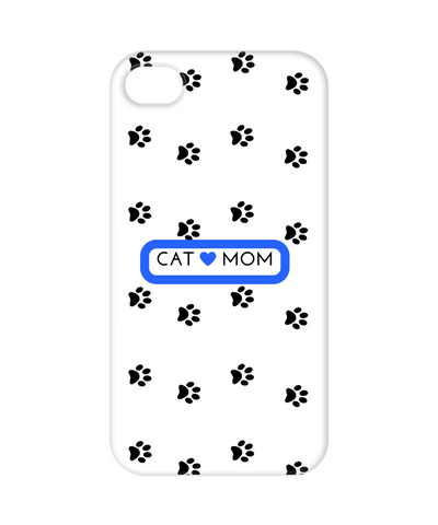 Cat Mom White Blue Call Phone Case Apple 4, Phone Case, Gearbubble, FamilyTrophy.com - FamilyTrophy.com
