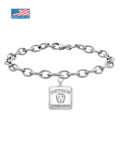 Newton's Physics School Funny Teacher Bracelet Square Back To School University Gift Silver Jewelry