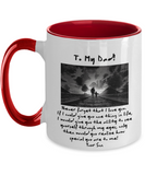 Fathers Day 2020 Mug For Dad Never Forget - Great Gift For That Special Daddy - Thoughtful Father's Holiday Surprise With Message - 11oz Two Tone Cup For Him