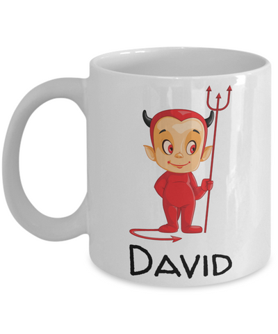 Halloween Red & Black Devil Morning Coffee Mug - Funny Sayings & Quotes Christmas Gift for Boys & Girls - Personalized First Name Kid Cocoa, Milk, Cookies, Candy Cane Cup - Personalization Gift, Coffee Mug, Gearbubble, FamilyTrophy.com - FamilyTrophy.com