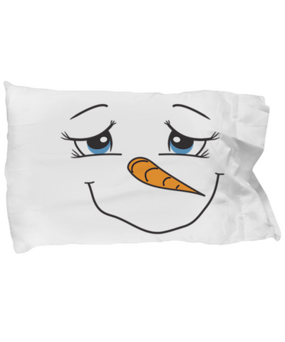 Happy Face Good Morning Good Night Snowman Winter Pillow Case For Kids - Perfect Holiday Gifts For Children, Pillow Case, Gearbubble, FamilyTrophy.com - FamilyTrophy.com