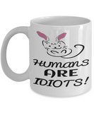 Easter Cat Gift White Coffee Mug For Cat Kitten Lovers Holiday Gift 2017 2018 Gifts For Him Her Funny Sayings Tea Coffee Mugs Cups For Kitty Fans Humans Are Idiots Fun Cat Bunny Ear Sarcasm Jar, Coffee Mug, Gearbubble, FamilyTrophy.com - FamilyTrophy.com