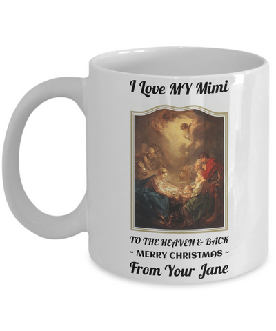 Grandma To The Heaven & Back Personalized Bible Mug Gift For Grandparents - Christianity, God, Jesus, Spirituality, Bible Christmas 2016 Cup, Coffee Mug, Gearbubble, FamilyTrophy.com - FamilyTrophy.com