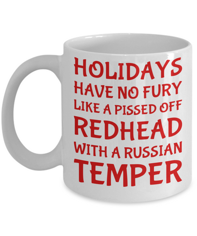Holiday Christmas Mug Gift For Redhead Russian Girls - Xmas Inspiration Gift For Her, Mom, Grandma, Sister, Girlfriend - 11oz White Ceramic Cup for Cocoa, Coffee, Tea, Cookies & Ginger Bread, Coffee Mug, Gearbubble, FamilyTrophy.com - FamilyTrophy.com