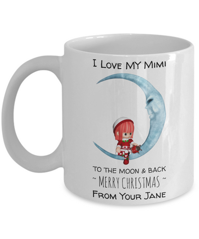 Grandparents To The Moon & Back Santa Personalized Mug - Perfect Christmas Mug Gift For Grandma & Mimi - Christmas Holiday Gift For XMas 2016 - Cocoa Cup For Grannie, Coffee Mug, Gearbubble, FamilyTrophy.com - FamilyTrophy.com