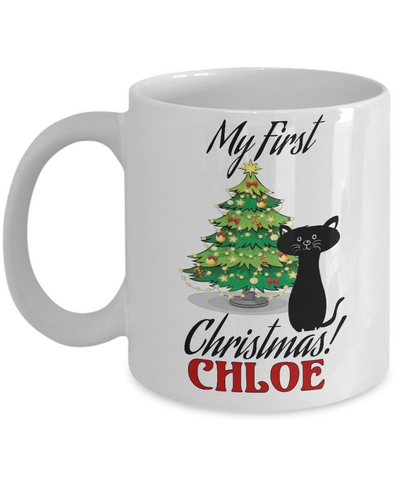 *Attention Cat Moms* Turn your Mugs into a piece of Purrrfect Cat Mom Art! First Christmas Personalized X-Mas Kitty Mug Gift For Cat Lovers, Coffee Mug, Gearbubble, FamilyTrophy.com - FamilyTrophy.com
