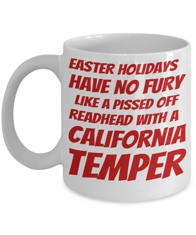 Irish Redhead Coffee Mug White Ceramic Easter Holidays Gifts For Her Him Manhattan Temper Cup For Tea, Coffee & Candy Easter Pissed Off Redhead Holiday California Temper Jar For Easter Egg Hunt, Coffee Mug, Gearbubble, FamilyTrophy.com - FamilyTrophy.com