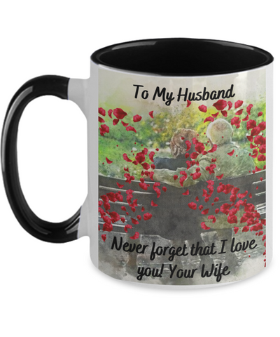 Fathers Day 2020 To My Husband Never Forget Mug From Wife - Great Gift For That Special Hubby - Beautiful 11 oz Two Tone Love Message Cup For Him