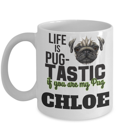 Personalization Gift Pug Mug - Funny Saying Quote Gift for Her & Him - Personalized Dog Name Gift for Kids, Parents, Mom, Dad, Grandparents - Best Morning & Night Cup for Cocoa, Coffee & Santa Candy Cane, Coffee Mug, Gearbubble, FamilyTrophy.com - FamilyTrophy.com