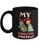 Pinnochio Cat Fox Kid Christmas Mug - Holidays 2016 Gift For Kids - Black Ceramic Cup For Hot Cocoa, Coffee Mug, Gearbubble, FamilyTrophy.com - FamilyTrophy.com