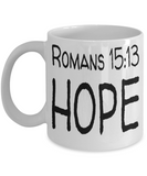 Inspirational Bible Verse Catholic Mugs Coffee Mug Art Christianity Coffee Cup Religious Art Print Artsy Jesus Christ Decorative Pencil Holder White Ceramic 11 oz pba Free Dishwaher Safe Easter 2017 2018 Romans 15:13 Hope Mugs, Coffee Mug, Gearbubble, FamilyTrophy.com - FamilyTrophy.com