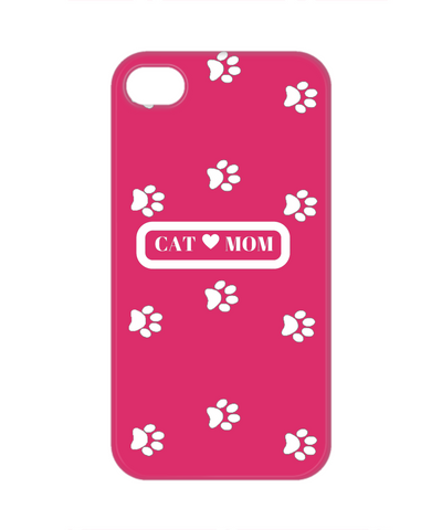Cat Mom white apple 4 cell phone case pink, Phone Case, Gearbubble, FamilyTrophy.com - FamilyTrophy.com