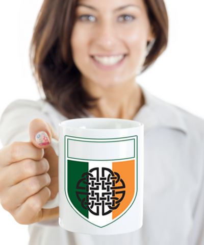 Irish Family Name Personalized Coffee Mug White Ceramic St. Patrick's Day Gifts Cup For Tea, Coffee & Candy, Coffee Mug, Gearbubble, FamilyTrophy.com - FamilyTrophy.com