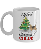 First Christmas Personalized X-Mas Beagle Mug - Christmas 2016 Gift - Fun Personalization Gift For Dog Lovers, Coffee Mug, Gearbubble, FamilyTrophy.com - FamilyTrophy.com