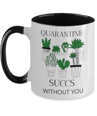 Fathers Day 2020 Quarantine Succs Without You - Funny Succulent Social Distancing Mug For Father - Great Gift For That Special Daddy - Beautiful 11 oz Two Tone Cactus Plant Cup For Him
