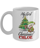 First Name Personalized X-Mas 2016 Babies Elf Candy Mug - Christmas Gift Mom & Dad - Fun Personalization Gift For Baby & Parents, Coffee Mug, Gearbubble, FamilyTrophy.com - FamilyTrophy.com