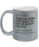 Unicorn Powers Sharing Magical DNA Coffee Mug - Funny Gift For Mom From Fabulous Favorite Child, Son & Daughter