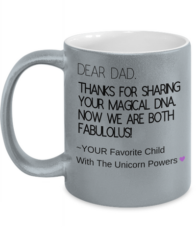 Cute Magical DNA Mug For Fabulous Dads & Children - Powerful Father's Day Inspiration Message Cup For Unicorn Lover Dads From Wife, Daughter, Girlfriend, Son