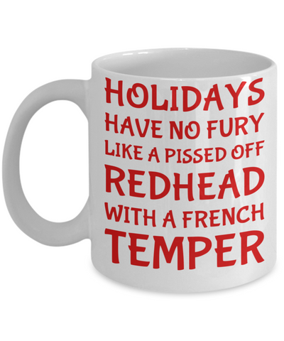 Holiday Christmas Mug Gift For Redhead French Girls - Xmas Inspiration Gift For Her, Mom, Grandma, Sister, Girlfriend - 11oz White Ceramic Cup for Cocoa, Coffee, Tea, Cookies & Ginger Bread, Coffee Mug, Gearbubble, FamilyTrophy.com - FamilyTrophy.com