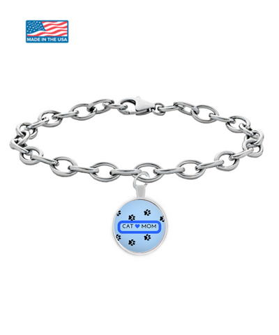 *Attention Cat Moms* Turn your Bracelet into a Piece of Purrrfect Cat Mom Art! Pawfect Gift Idea for Cat Lovers - Cat Mom Round Bracelet Blue, Bracelet, Gearbubble, FamilyTrophy.com - FamilyTrophy.com