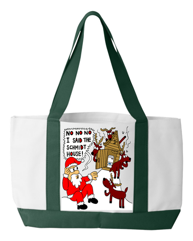 NO NO NO I SAID THE SCHMITT HOUSE FUNNY UGLY CHRISTMAS TOTEBAG TOTE BAG WITH NAME CUSTOMIZATION - GREAT CHRISTMAS GIFT, Tote Bag, Family Trophy, FamilyTrophy.com - FamilyTrophy.com