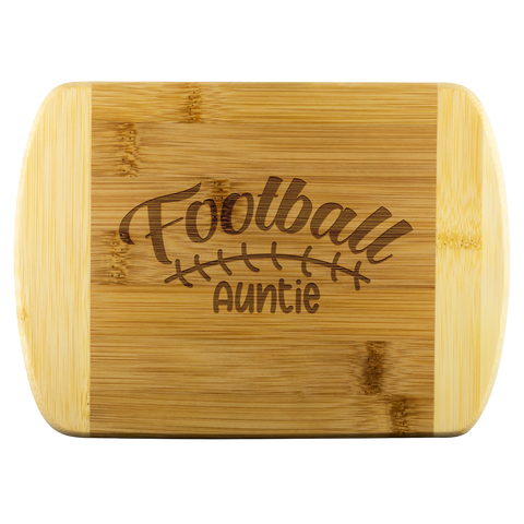 Round Edge Wood Cutting Board With Cute Saying - Unique Gift For Cheering Football Auntie