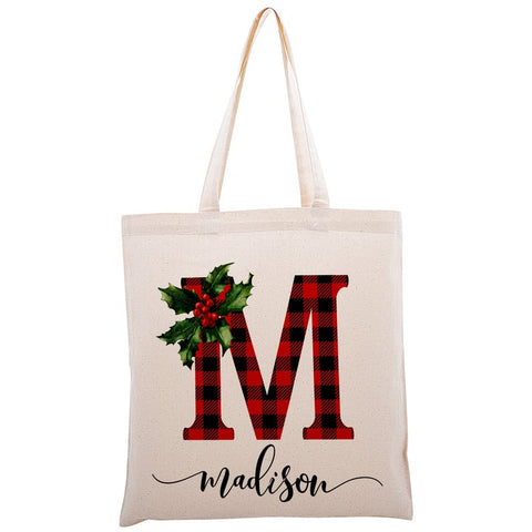 Personalized Christmas Tote Bag, Customized Gift Bags, Cute Xmas Gifts, Holiday Totes