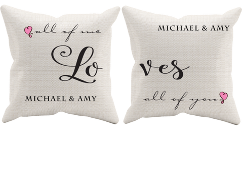 Couple Pillow Set Of 2 All Of Me - Perfect Gift, Pillow Case, Trexify, FamilyTrophy.com - FamilyTrophy.com