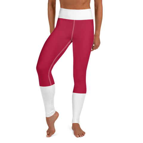 Crimson and White Striped Leggings With Football Design - University of Alabama Crimson Tide College Football Leggings - Perfect Halloween Costume For Women Who Love Bama Football