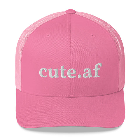 cute.af - Pink Trucker Cap With White Embroidery