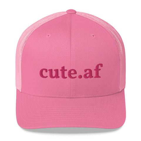 cute.af - Pink Trucker Cap With Flamingo Pink Embroidery