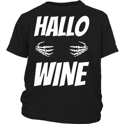 Hallo Wine Shirt Halloween Youth, T-shirt, teelaunch, FamilyTrophy.com - FamilyTrophy.com