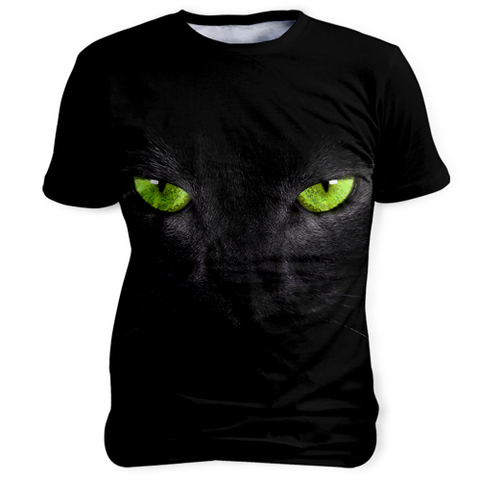 Black Cat, Sublimation Unisex T-shirts, slingly, FamilyTrophy.com - FamilyTrophy.com
