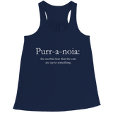 Limited Edition - Purr-a-noia: The Morbid Fear That The Cats Are Up To Something, Bella Flowy Racerback Tank, slingly, FamilyTrophy.com - FamilyTrophy.com