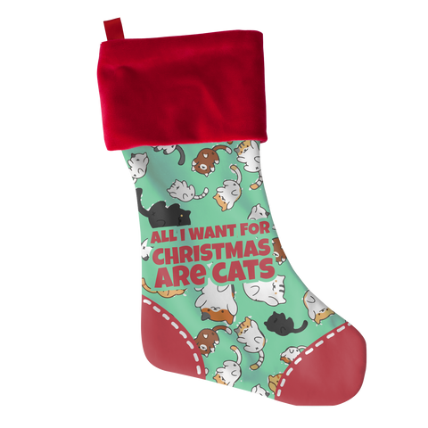 *Attention Cat Moms* Turn your Holiday Stockings into a Piece of Purrrfect Cat Art - All I Want Cats Christmas Stocking Gift, Stockings, slingly, FamilyTrophy.com - FamilyTrophy.com