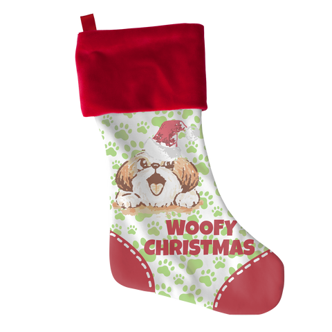 Woofy Xmas Shihtzu, Stockings, slingly, FamilyTrophy.com - FamilyTrophy.com