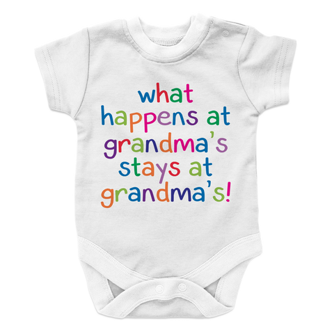 What Happens at Grandmas Stays at Grandmas, Onesies, slingly, FamilyTrophy.com - FamilyTrophy.com
