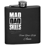 Mad Dad Skills Flask With Personal Message From Wife For Husband - Premium Quality Made In USA - Personal Gift For Father From Her - FamilyTrophy.com