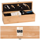 Mad Dad Skills Wine Box - One Bottle Set With Personalized Message From Wife - Premim Quality Made In USA - Unique Dad Gift Idea For Wine Lovers - FamilyTrophy.com