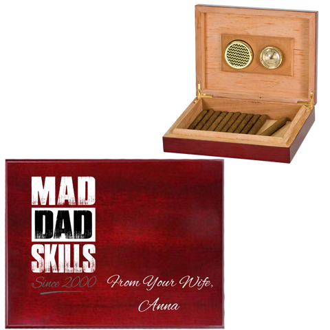 Mad Dad Skills Personalized Humidor - Premium Rosewood Quality - Made in USA - Unique Gift Idea For Smoking Fathers - FamilyTrophy.com