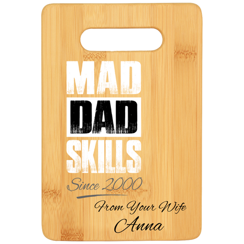 Mad Dad Skill Cutting Board With Personalization - House Warming Gifts For Fathers - Premium Quality Made In USA - Gift Ideas For Husband From Wife or Daughter