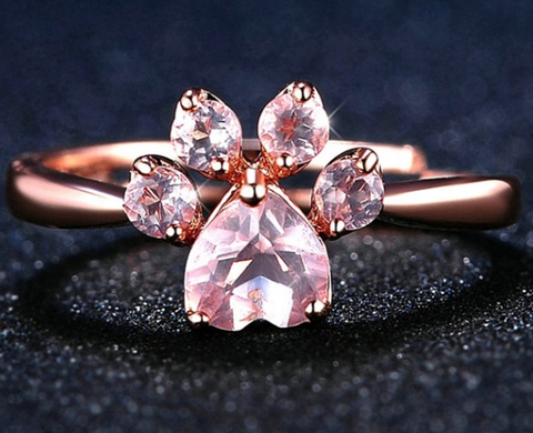 Beautiful Dazzling Cat Paw Ring  - Bridal Jewelry Pink Crystal Gold Wedding Band For Cat Lovers, Rings, FamilyTrophy.com, FamilyTrophy.com - FamilyTrophy.com